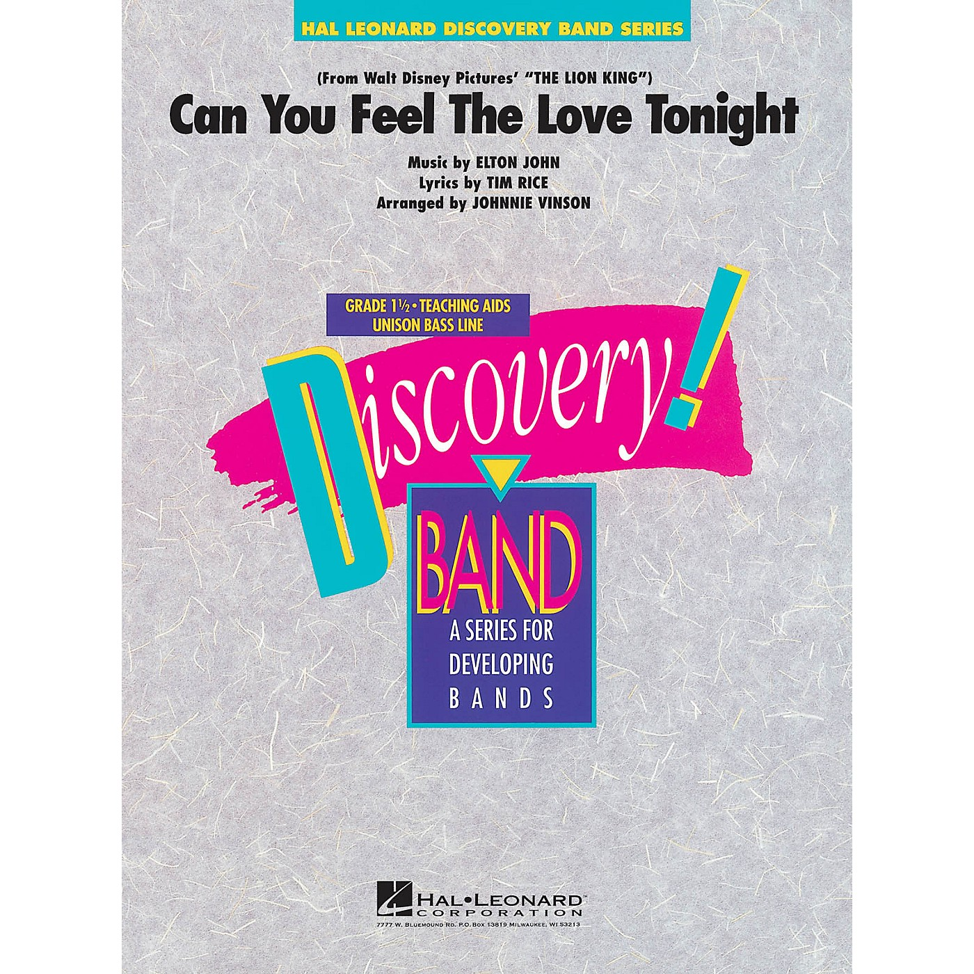 Hal Leonard Can You Feel the Love Tonight Concert Band Level 1.5 Arranged by Johnnie Vinson thumbnail