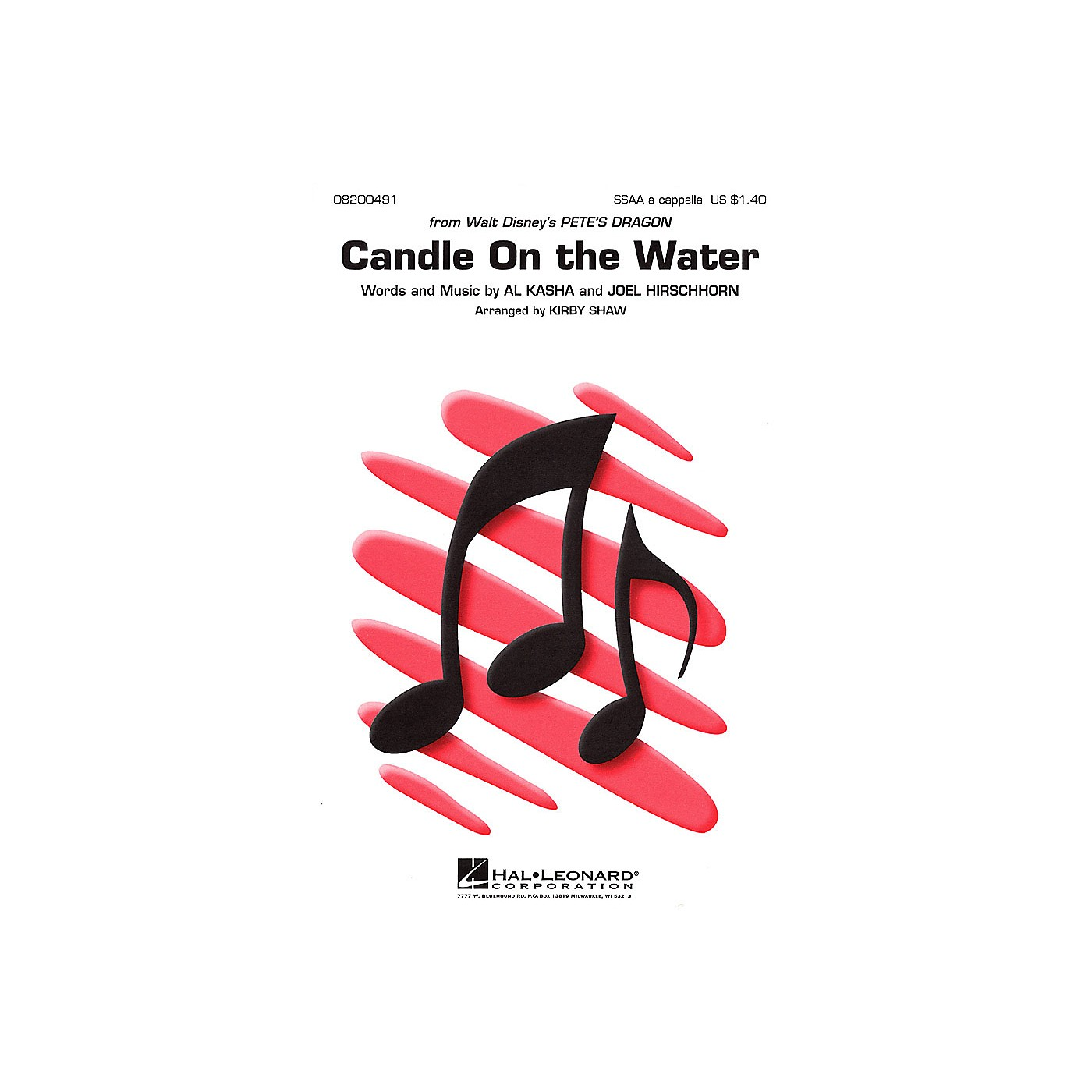 Hal Leonard Candle on the Water (from Pete's Dragon) SSAA A Cappella arranged by Kirby Shaw thumbnail
