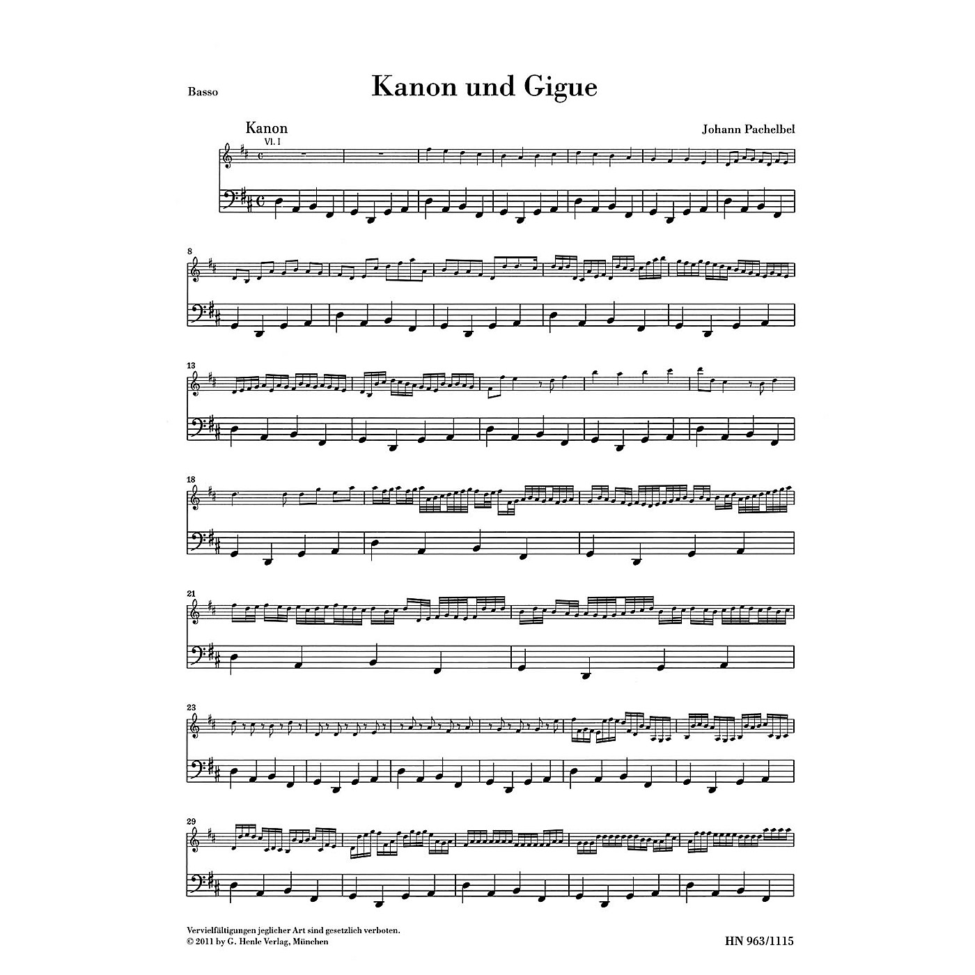 G. Henle Verlag Canon and Gigue for Three Violins and Basso Continuo in D Maj Henle Music by Pachelbel Edited Müllemann thumbnail