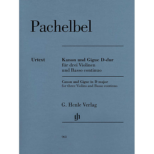 G. Henle Verlag Canon and Gigue for Three Violins and Basso Continuo in D Maj Henle Music by Pachelbel Edited Mullemann thumbnail