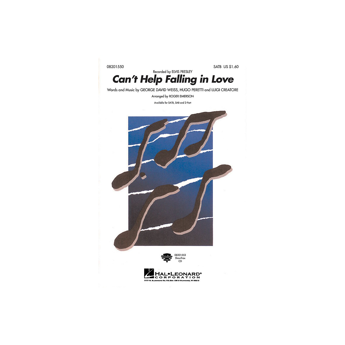 Hal Leonard Can't Help Falling in Love SATB by Elvis Presley arranged by Roger Emerson thumbnail