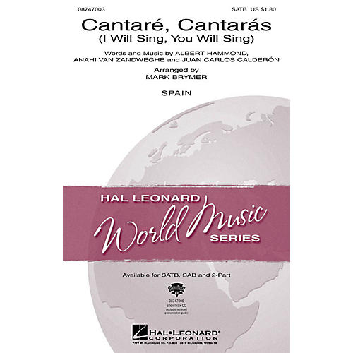 Hal Leonard Cantare, Cantaras (I Will Sing, You Will Sing) 2-Part Arranged by Mark Brymer thumbnail