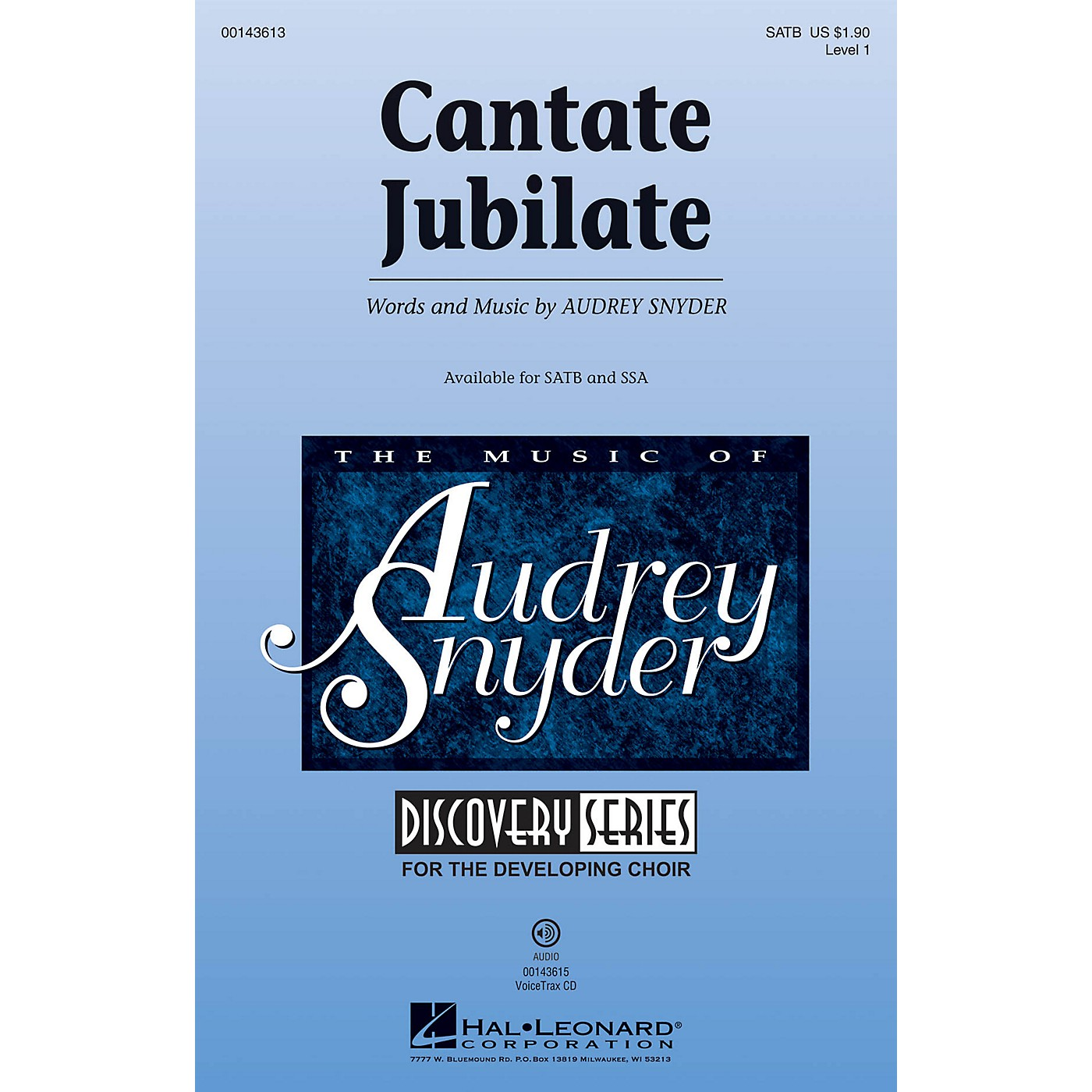 Hal Leonard Cantate Jubilate (Discovery Level 1) SATB composed by Audrey Snyder thumbnail