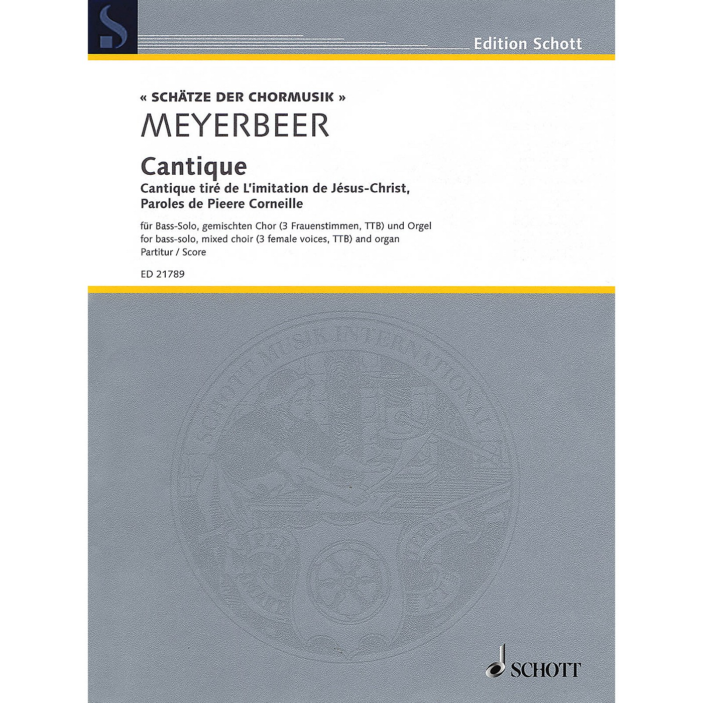 Schott Cantique Score Composed by Giacomo Meyerbeer thumbnail