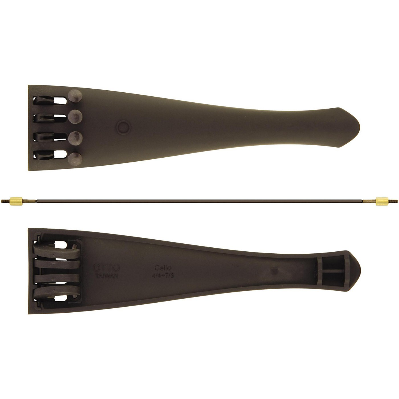 Otto Musica Carbon Composite Cello Tailpiece with Four Built-In Fine Tuners and Braided Steel Tailgut thumbnail