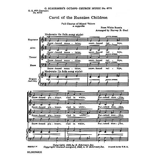 G. Schirmer Carol of Russian Chldren (8-Part with Organ Accompaniment) SATB composed by Folk Song thumbnail