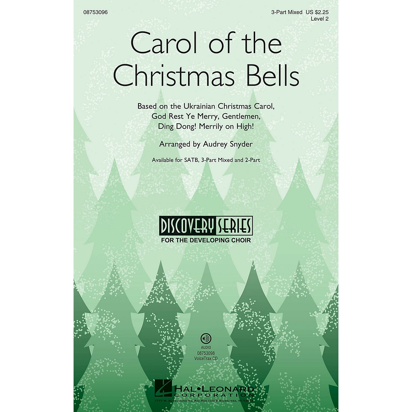 Hal Leonard Carol of the Christmas Bells (Discovery Level 2) 2-Part Arranged by Audrey Snyder thumbnail