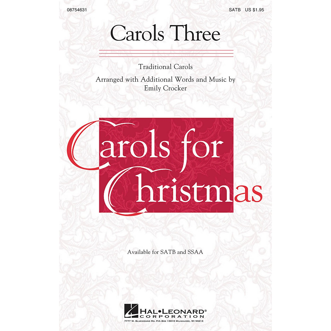 Hal Leonard Carols Three (Medley) SSAA Arranged by Emily Crocker thumbnail