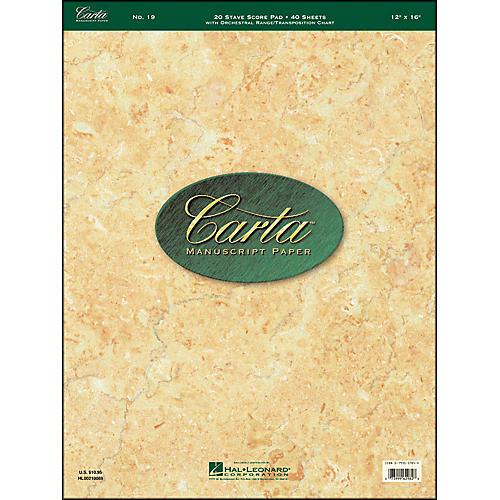 Hal Leonard Carta 19 Scorepad 12X16, 40 Sheet, 20 Stave, Manuscript thumbnail