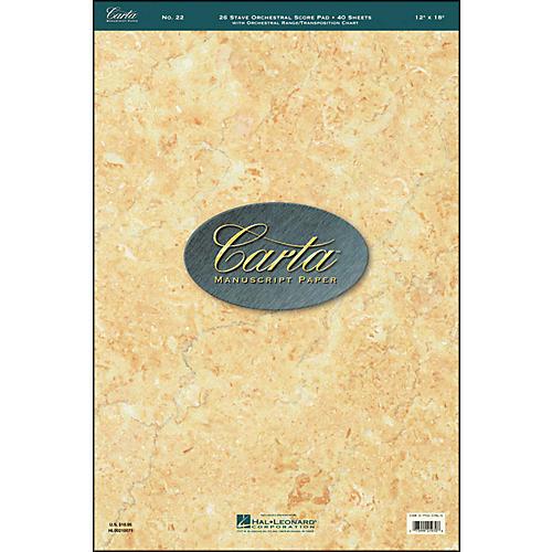 Hal Leonard Carta 22 Scorepad 12X18, 40 Sheet, 26 Stave, Orchestra Manuscript-thumbnail