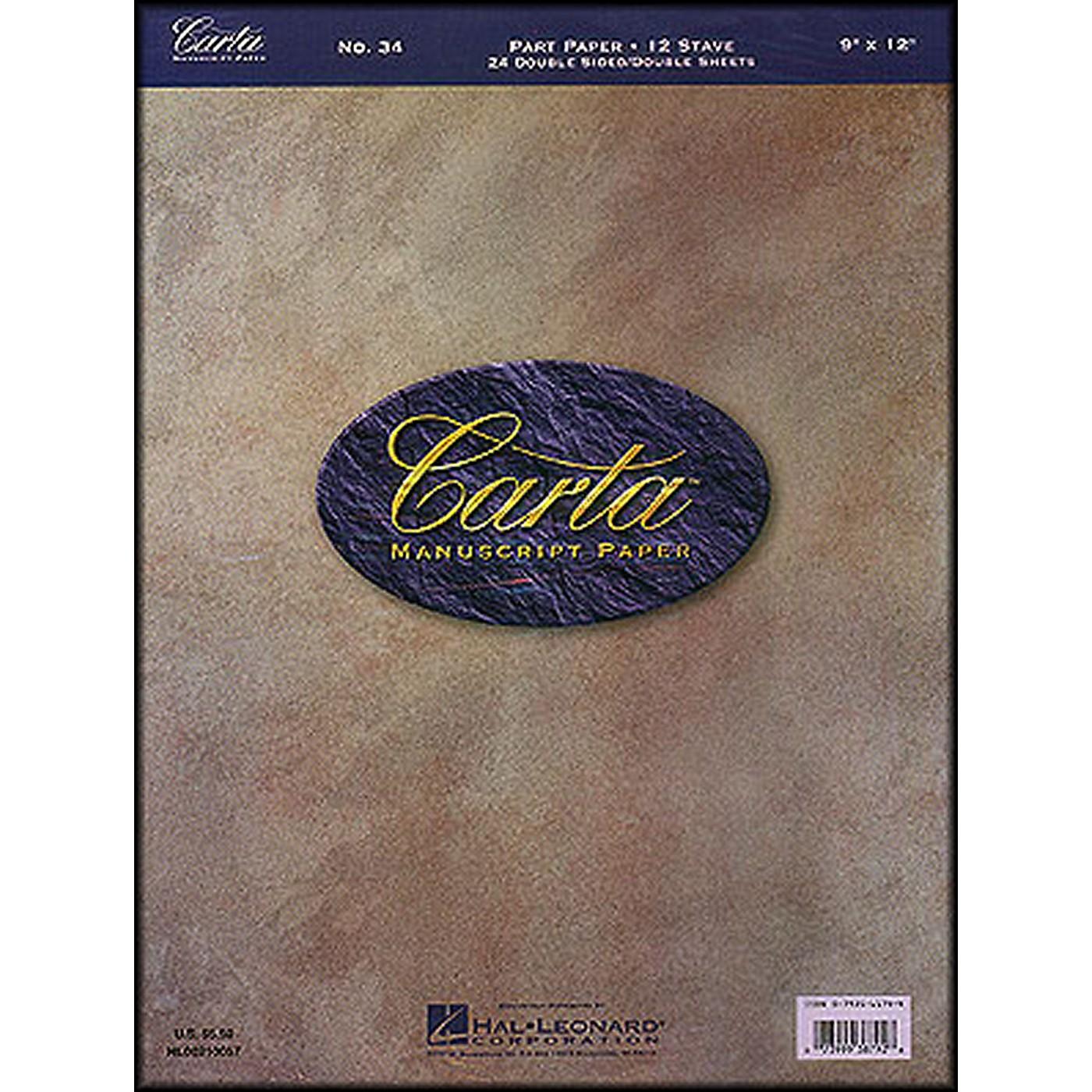 Hal Leonard Carta 34 Partpaper 9X12, Dbl Sided, 24 Sheet, 12 Stave Manuscript thumbnail
