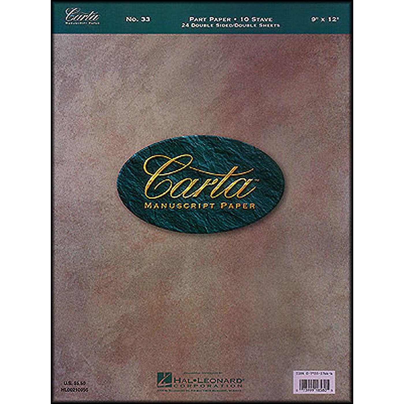 Hal Leonard Carta Manuscript 33 Part Paper 9 X 12, Double Sheets, Double Sided, 24 Sheets,10 Staves thumbnail
