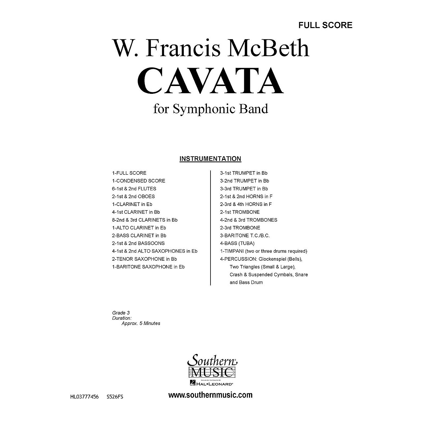 Southern Cavata (Band/Concert Band Music) Concert Band Level 2 Composed by W. Francis McBeth thumbnail