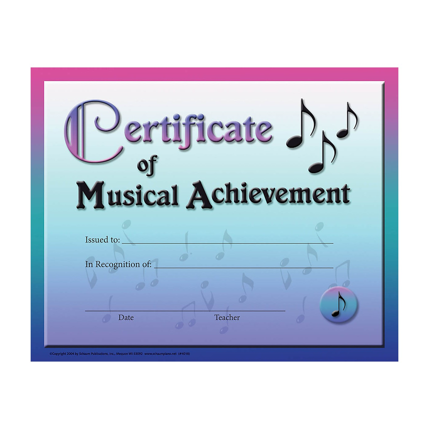 SCHAUM Certificate of Musical Achievement Educational Piano Series Softcover thumbnail