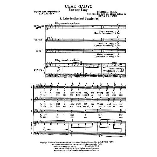 Transcontinental Music Chad Gadyo (Passover Song) SATB composed by Hugo Adler thumbnail