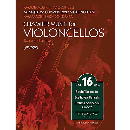 Editio Musica Budapest Chamber Music for Violoncellos Volume 16 (for 3 Cellos - Score and Parts) EMB Series Softcover by Various thumbnail