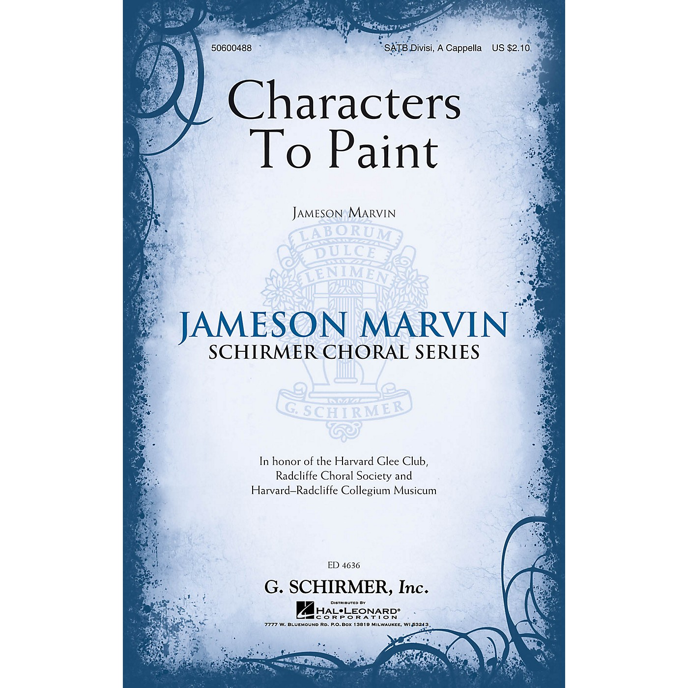 G. Schirmer Characters to Paint (Jameson Marvin Choral Series) SATB a cappella composed by Jameson Marvin thumbnail