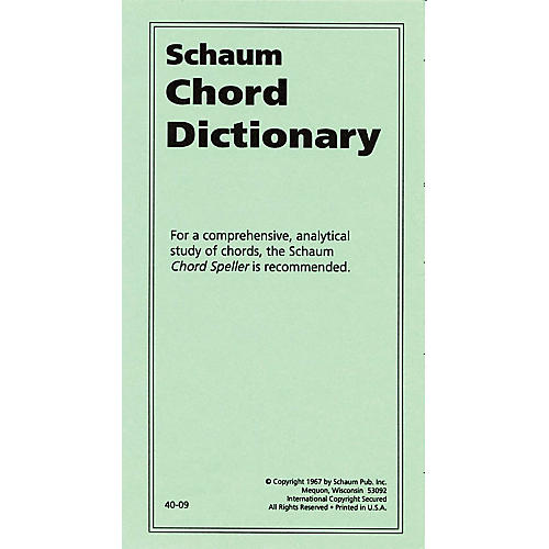 SCHAUM Chord Dictionary Educational Piano Series Softcover thumbnail