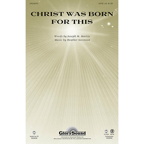 Shawnee Press Christ Was Born for This SATB composed by Heather Sorenson thumbnail
