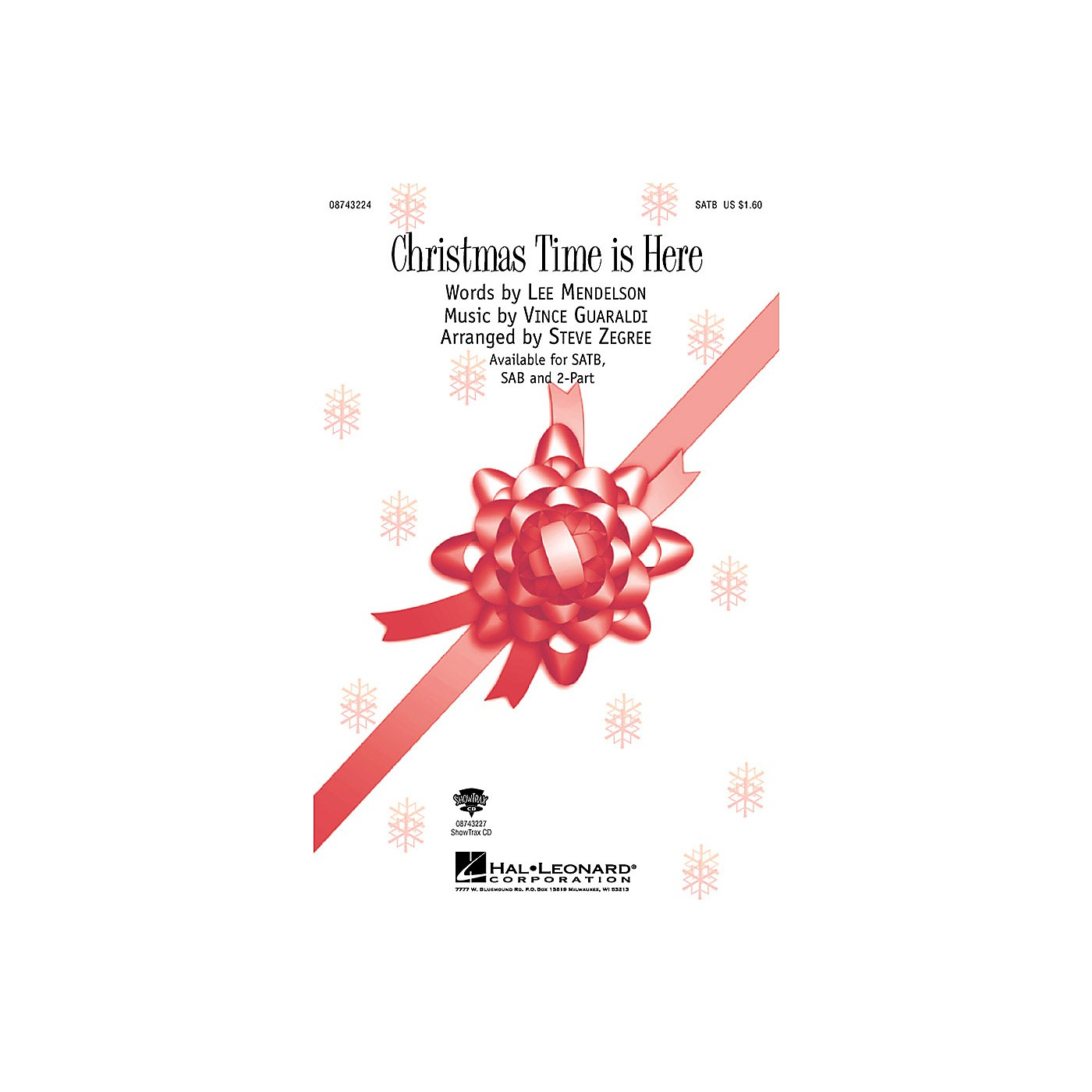 Hal Leonard Christmas Time Is Here (from A Charlie Brown Christmas) (SAB) SAB Arranged by Steve Zegree thumbnail