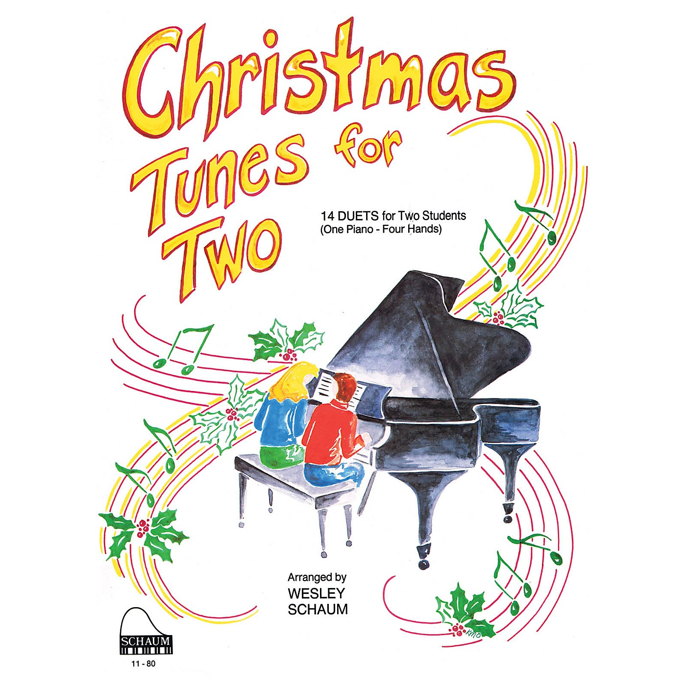 SCHAUM Christmas Tunes for Two (1 Piano, 4 Hands Level 3 Early Inter) Educational Piano Book thumbnail