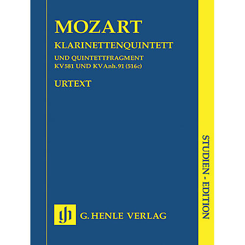 G. Henle Verlag Clarinet Quintet A Major K581 and Fragment K.Anh. 91 (516c) Henle Study Scores by Mozart thumbnail