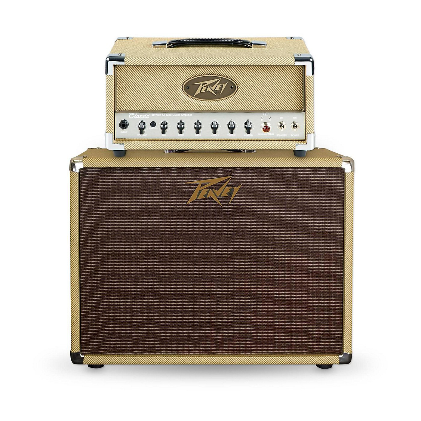 Peavey Classic 20 Micro 20W Tube Guitar Amp Head with 60W 1x12 Guitar Speaker Cabinet thumbnail