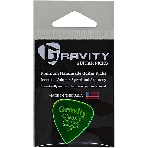 GRAVITY PICKS Classic Pointed Standard Polished Fluorescent Green Guitar Picks thumbnail