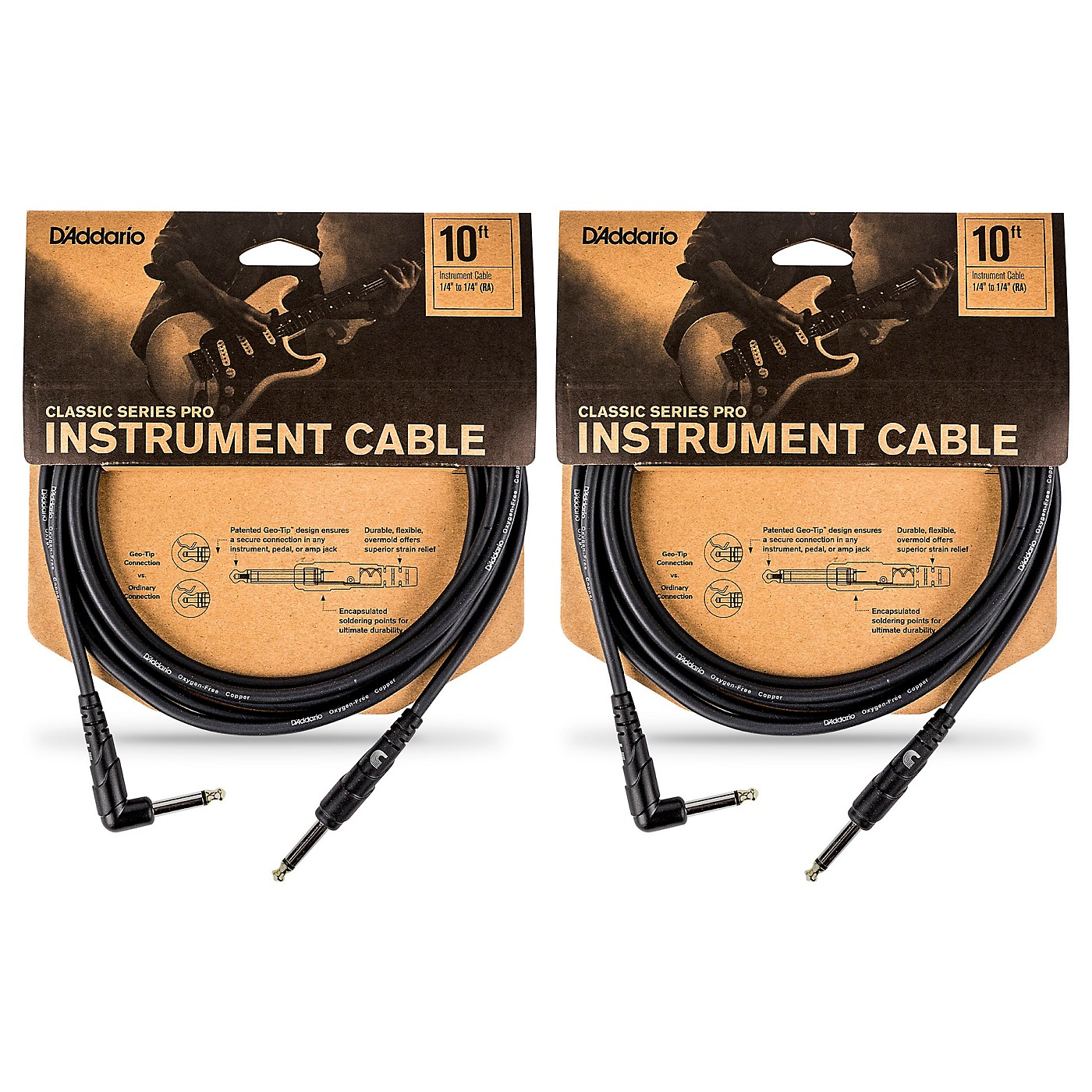 D'Addario Classic Pro Series Instrument Cable, Right Angle Plug -10 ft. - 2-Pack thumbnail