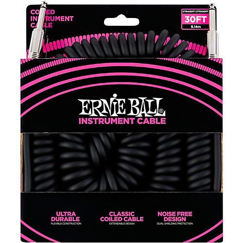 Ernie Ball Coiled Straight-Straight Instrument Cable - Black thumbnail