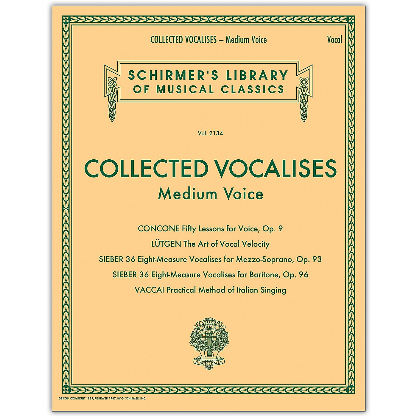 G. Schirmer Collected Vocalises: Medium Voice - Concone, Lutgen, Sieber, Vaccai thumbnail