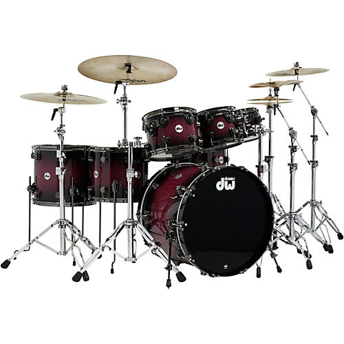 DW Collector's Series Purpleheart 7-Piece Lacquer Specialty Shell Pack Natural to Black Burst with Black Nickel Hardware thumbnail