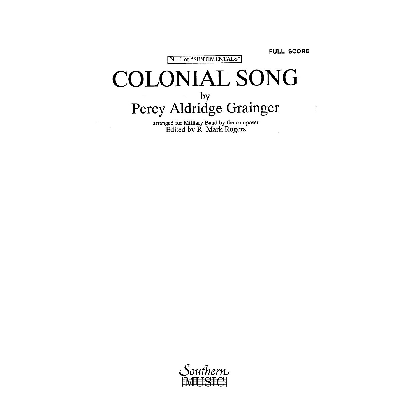 Southern Colonial Song (Oversized Score) Concert Band Level 4 Arranged by R. Mark Rogers thumbnail