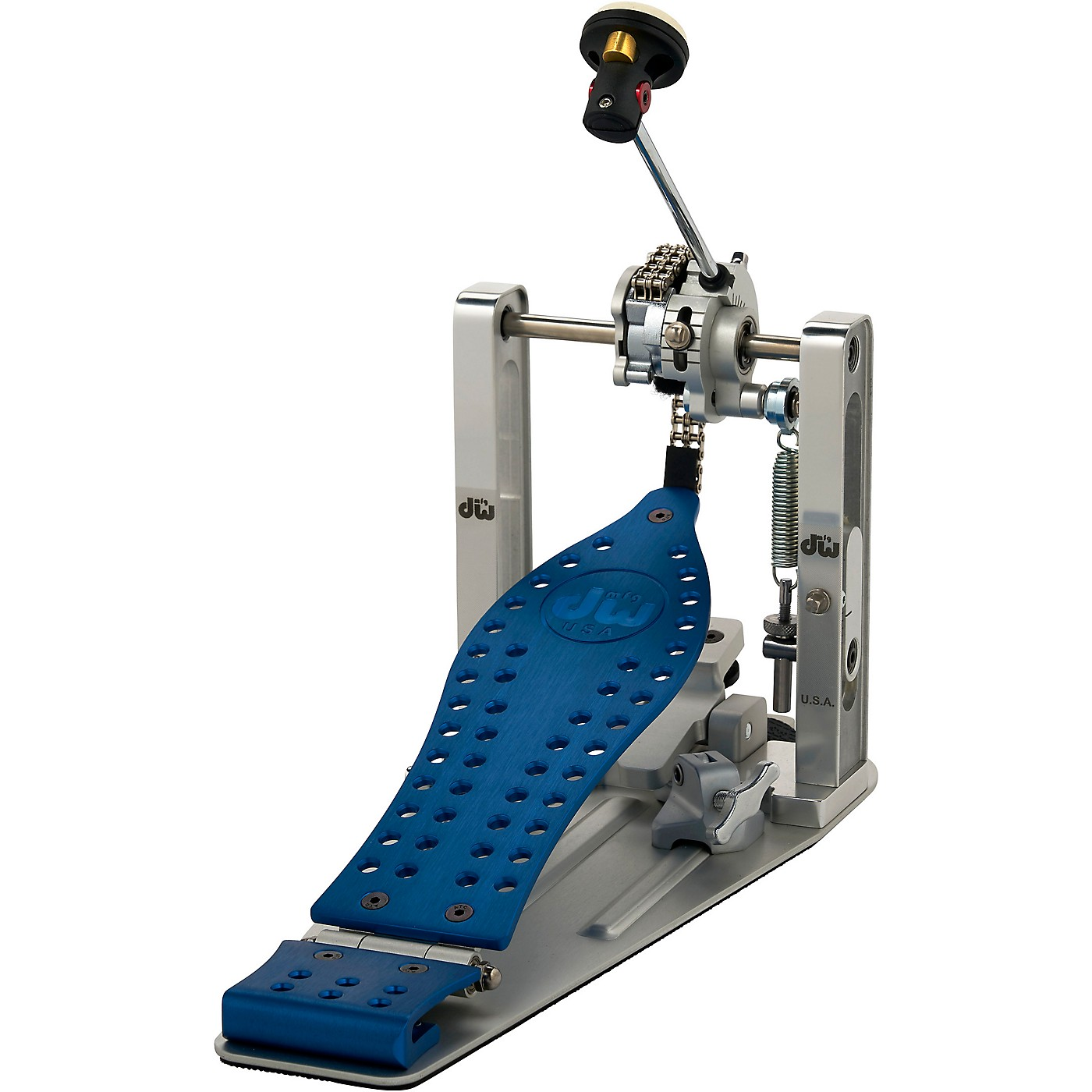 DW Colorboard Machined Chain Drive Single Bass Drum Pedal with Blue Footboard thumbnail