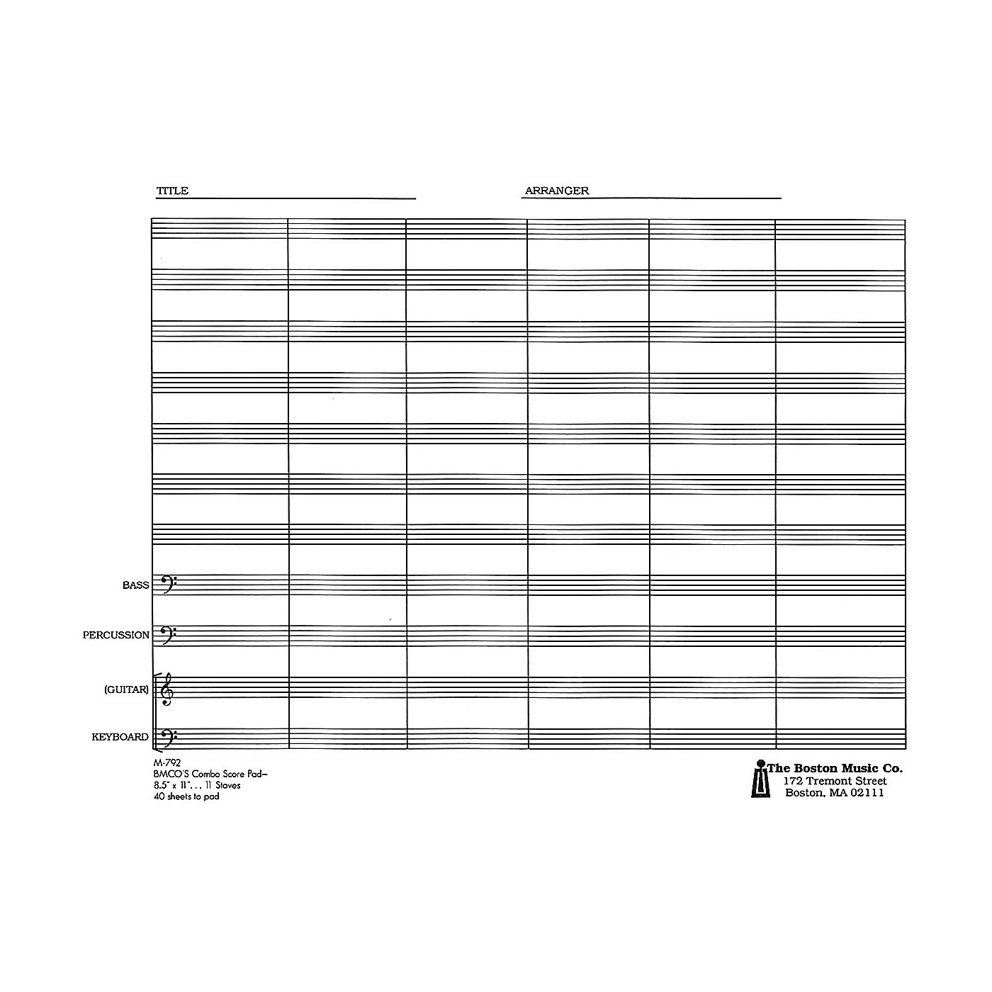 Music Sales Combo Score Pad 11 Stave Music Sales America Series thumbnail