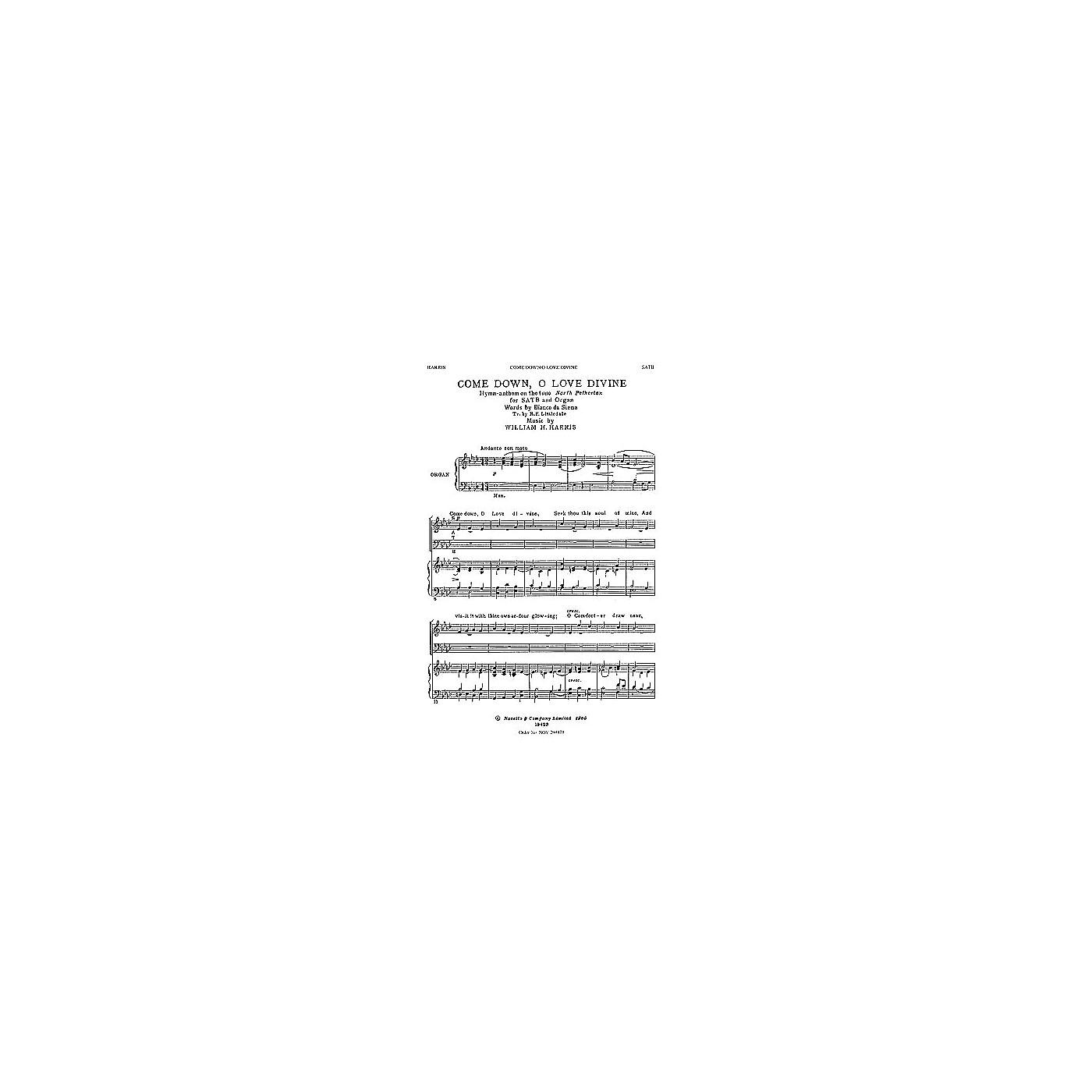 Novello Come Down, O Love Divine SATB Composed by William H. Harris thumbnail