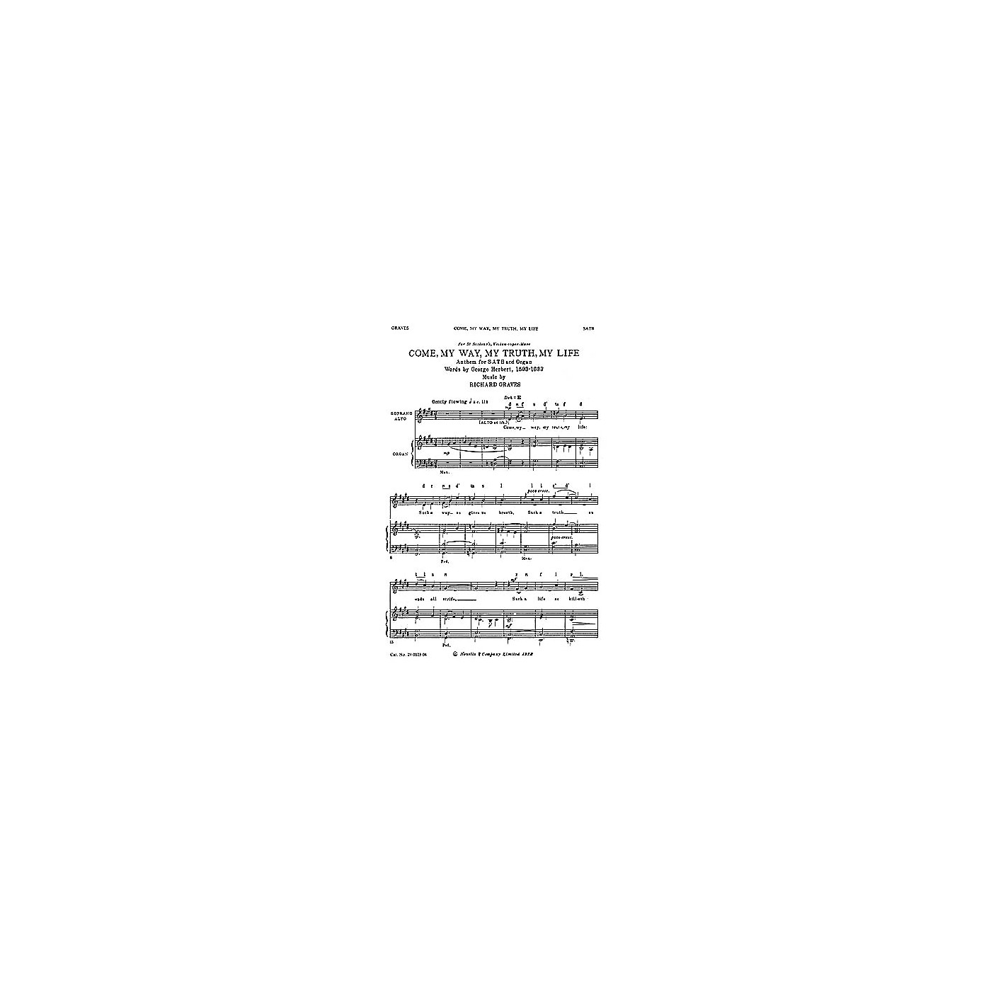Novello Come, My Way, My Truth, My Life SATB Composed by Richard Graves thumbnail