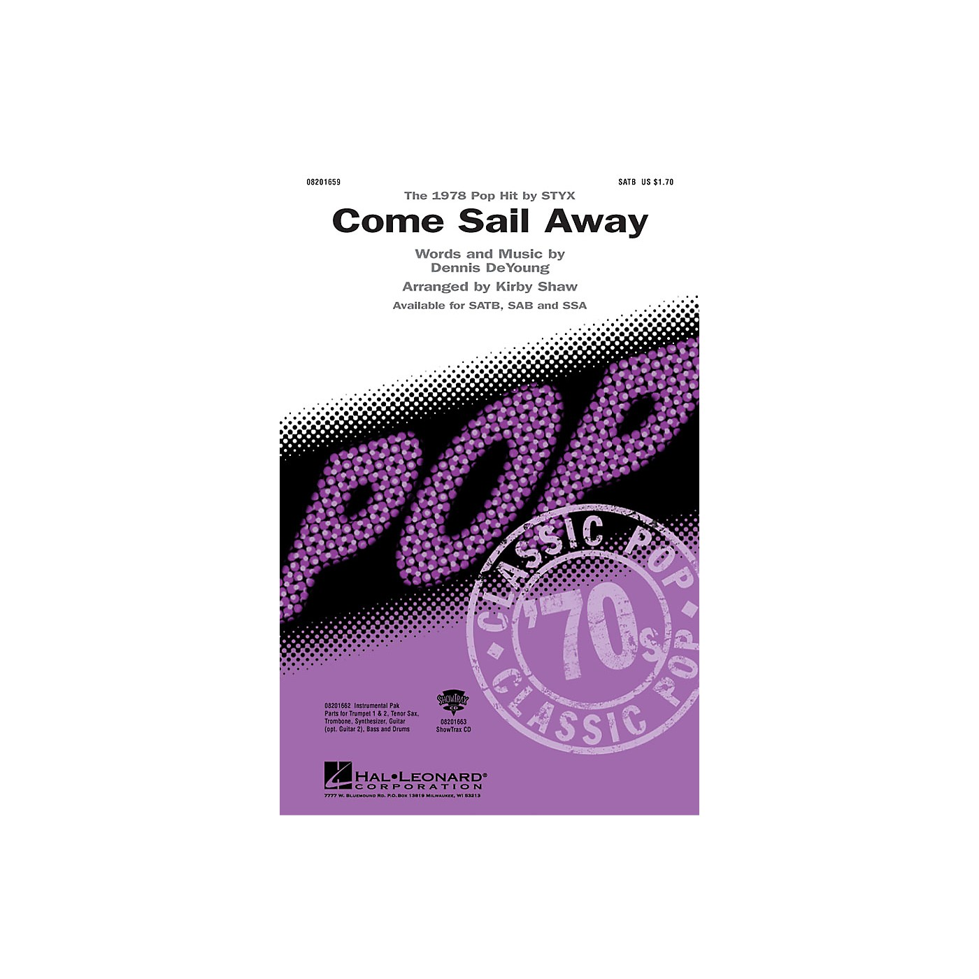 Hal Leonard Come Sail Away Combo Parts by Styx Arranged by Kirby Shaw thumbnail