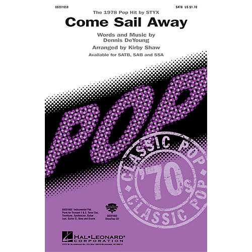 Hal Leonard Come Sail Away SATB by Styx arranged by Kirby Shaw thumbnail