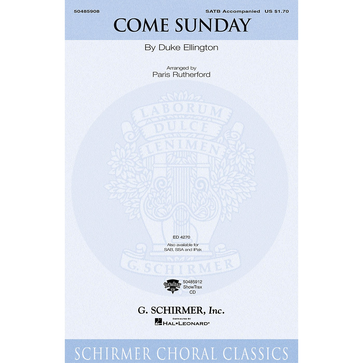 G. Schirmer Come Sunday SATB arranged by Paris Rutherford thumbnail