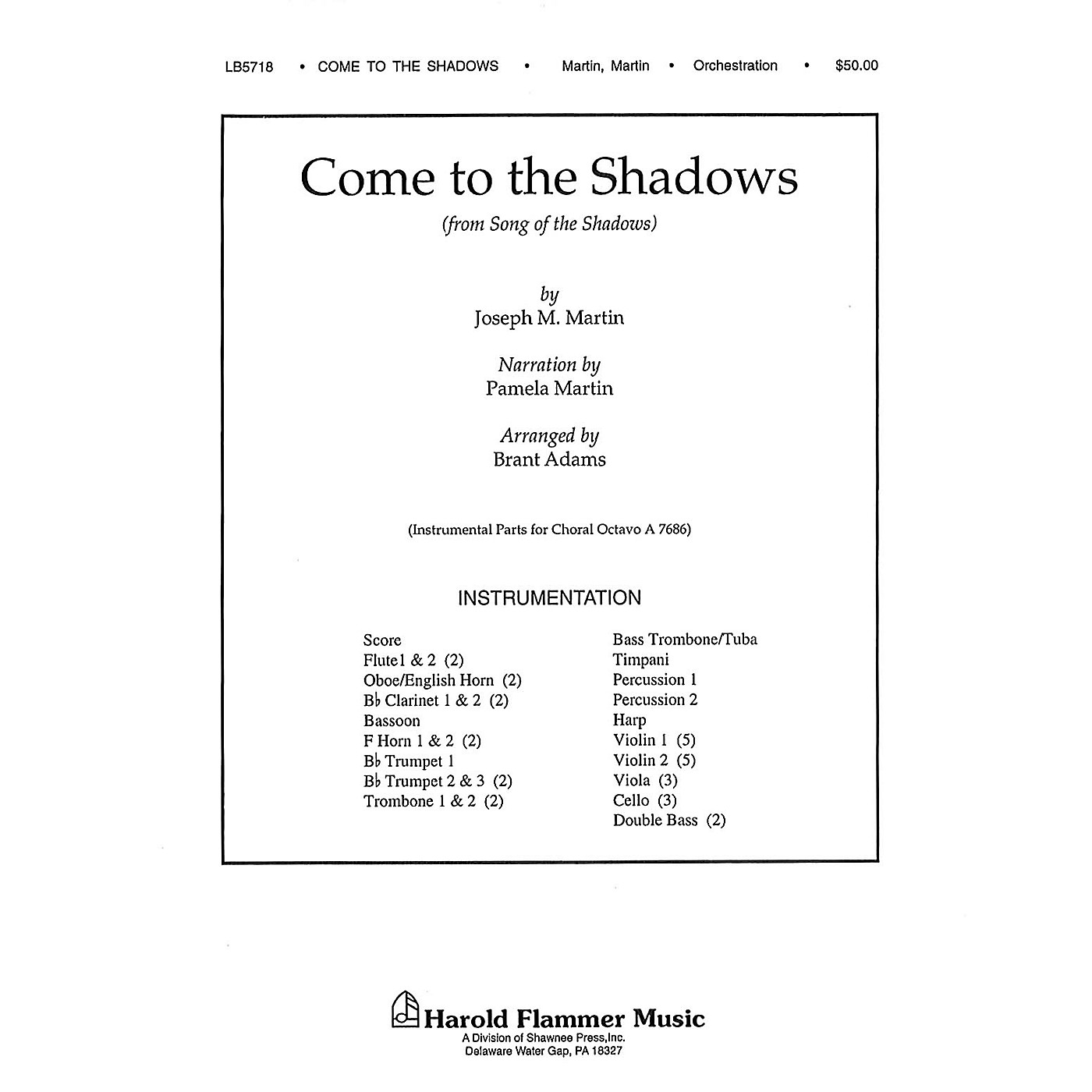 Shawnee Press Come to the Shadows (from Song of the Shadows) Score & Parts composed by Joseph M. Martin thumbnail
