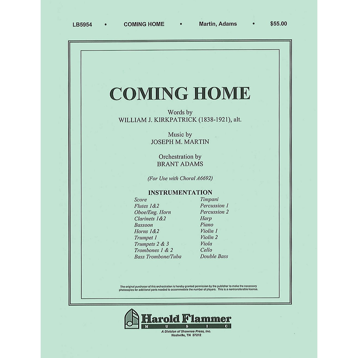 Shawnee Press Coming Home (from Legacy of Faith) Score & Parts composed by Joseph M. Martin thumbnail