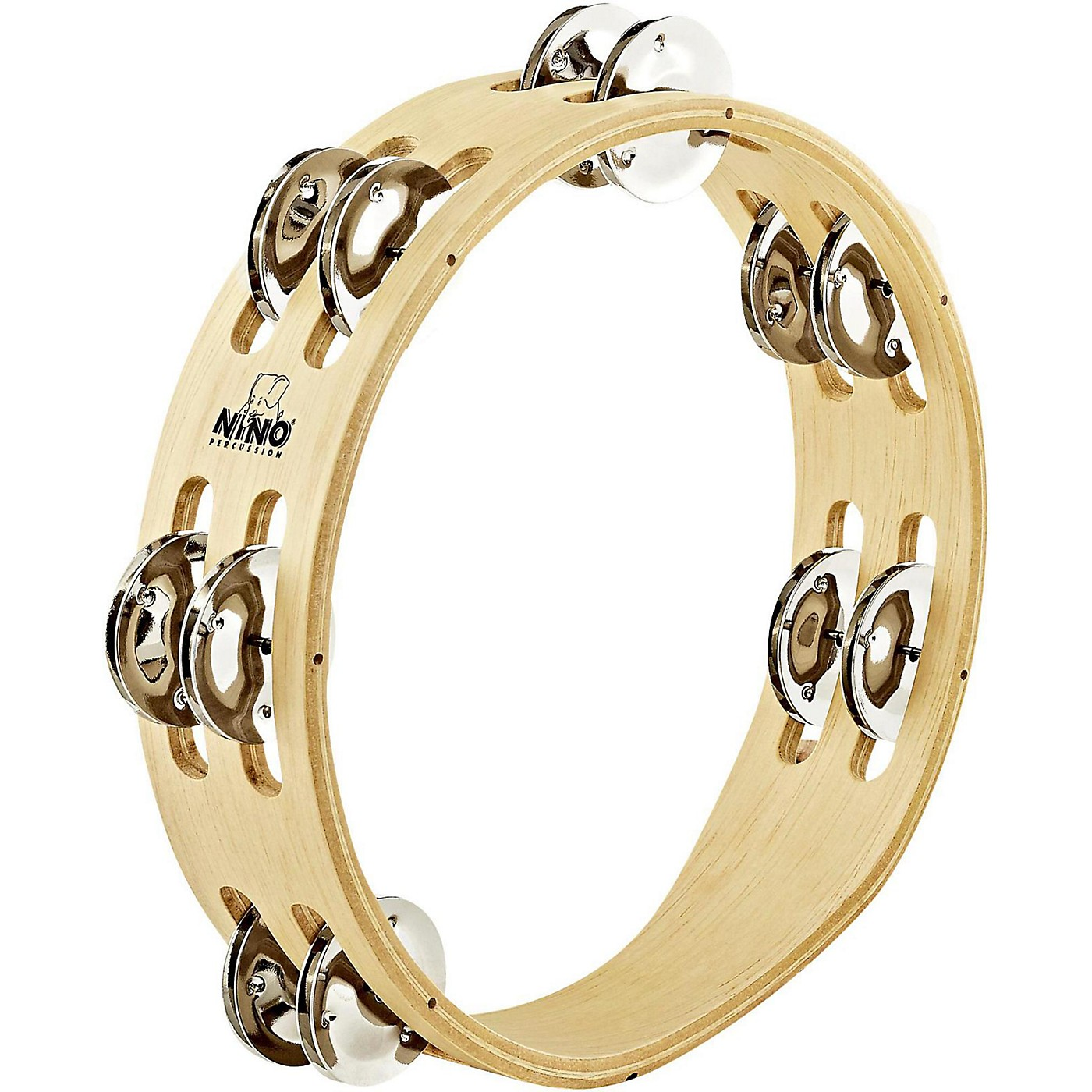 Nino Compact Wood Tambourine with Double Row Nickel Silver Plated Steel Jingles thumbnail