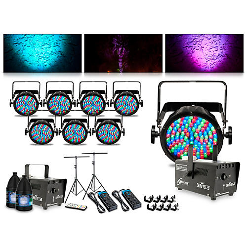 CHAUVET DJ Complete Lighting Package with Eight Slim Par 56, Two Huricane 700 Fog Machines and IRC6 Remote Control thumbnail