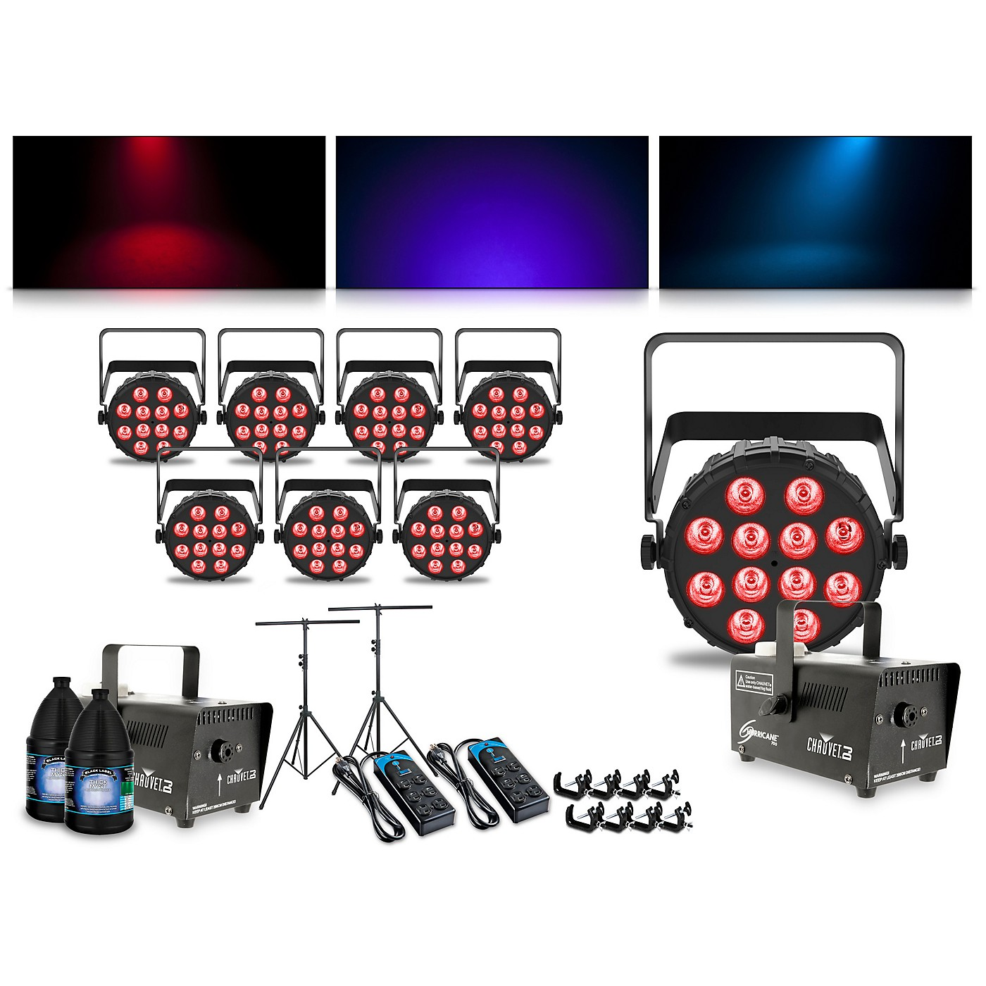 CHAUVET DJ Complete Lighting Package with Eight SlimPAR Q12 BT and Two Hurricane 700 Fog Machines thumbnail