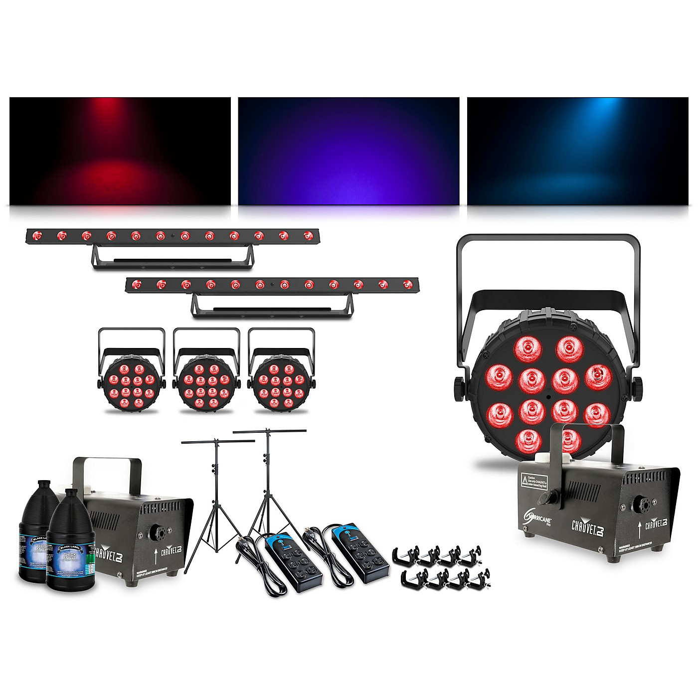CHAUVET DJ Complete Lighting Package with Four SlimPAR Q12 BT, Two ColorBAND T3 BT and Two Hurricane 700 Fog Machines thumbnail