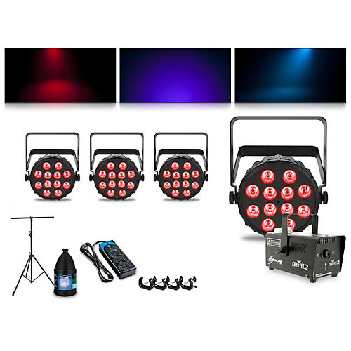 CHAUVET DJ Complete Lighting Package with Four SlimPAR T12 BT and Hurricane 700 Fog Machine thumbnail