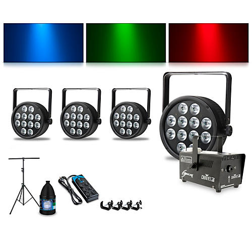 Proline Complete Lighting Package with Four ThinTri 64 and Huricane 700 Fog Machine thumbnail