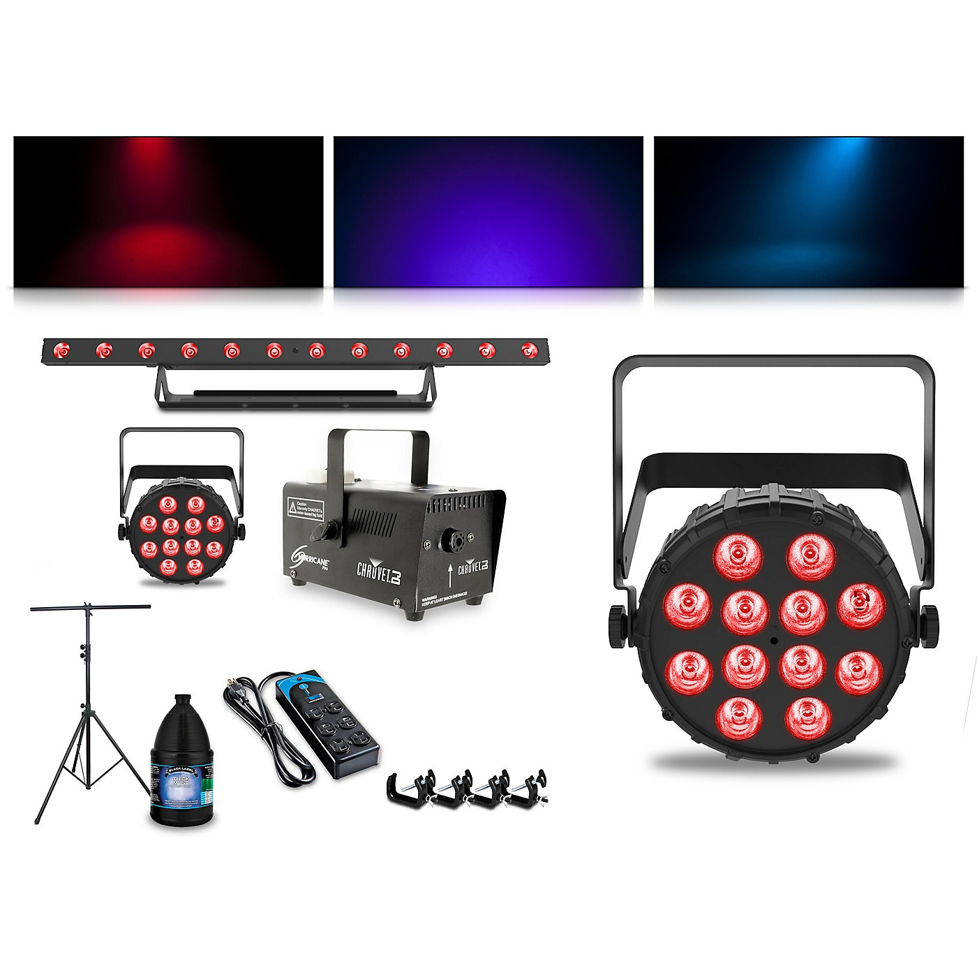 CHAUVET DJ Complete Lighting Package with Two SlimPAR T12 BT, ColorBAND T3 BT and Hurricane 700 Fog Machine thumbnail