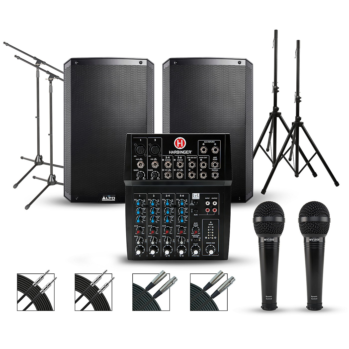 Harbinger Complete PA Package with Harbinger L802 8-channel Mixer with Alto Truesonic 2 Series Active Speakers thumbnail